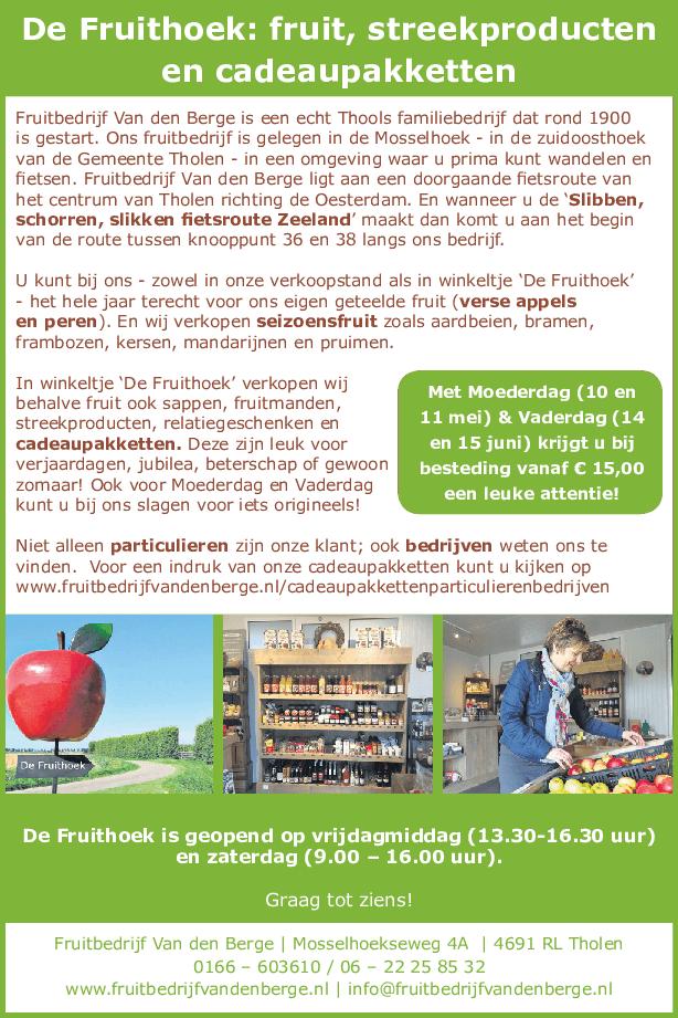 Fruitbedrijf Van den Berge: Advertentie Thoolse Bode de Brabantse Wal editie